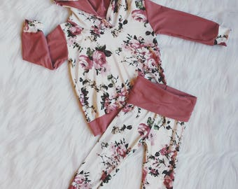 Girl Outfit. Hoodie and Leggings Set. Baby Girl Outfit. Floral. Flowers. Mauve. Pink. Cream. Modern. Comfortable Lounge Wear. Girls Clothing
