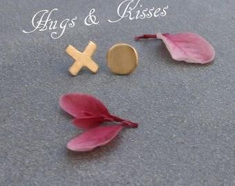 Asymmetrical earrings, mismatched stud earrings for girlfriend, tiny gold stud earrings, xo earrings, different earrings hugs and kisses
