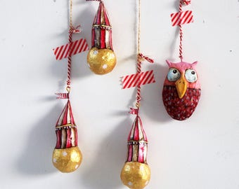 Circus Globes | Set of three pendants | Decoration | Circus | Gold | Red and White | Paper Mache