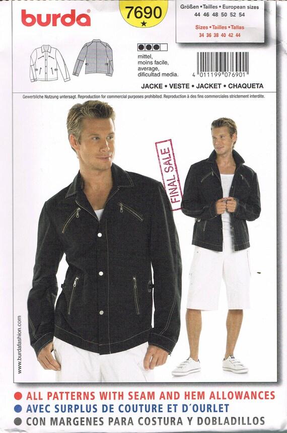 Size 34-44 Men\'s Jacket Sewing Pattern - Men\'s Jean Jacket Sewing ...