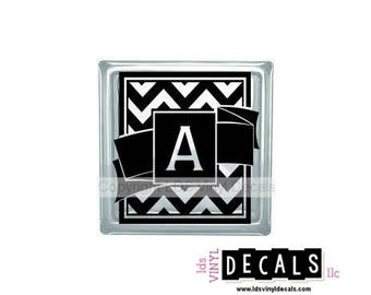 Chevron Alphabet - Monograms and Weddings - Vinyl Lettering for Glass Blocks - Craft Decals