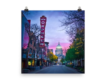Madison, Capital, State Street, Orpheum Autumn Fall Photo Poster - Square or Rectangle - Variety of Sizes Available