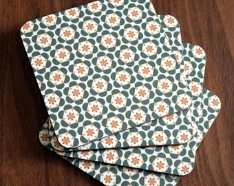 Set of 4 Gorgeous Olive and Mustard 'Delyth' Print Coasters