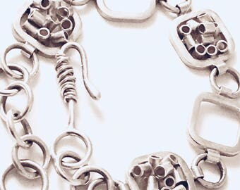 Sterling silver fashion bracelet | Contained chaos silver bracelet
