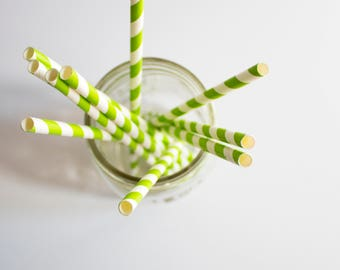 Lime Green Paper Straws, Striped Paper Straws, Party Supplies, Party Decor, Birthday Party Straws, Christmas Party, Wedding Paper Straws