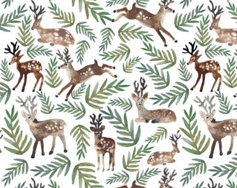 Christmas Fabric by the Yard Cotton Xmas Reindeer Woodland Forest Deer Pine Rustic Organic Cotton Knit Minky Jersey Fleece 5794278