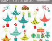 """quirky, whimsical """"Grinch"""", """"Whoville"""" style Christmas tree & parcel graphics, vector, royalty free, commercial use. Instant download."""