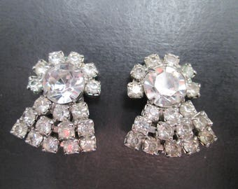 Vintage Faux Diamond Silver Tone Cluster Earrings with Clip On Closures 60s
