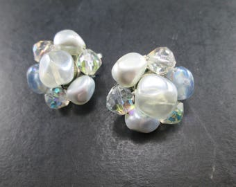 Vintage Coro Beaded Cluster Earrings Clip On 60s Signed