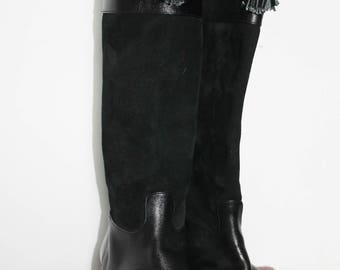 Black leather boots (S37)