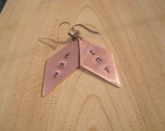 CUSTOMIZABLE handcrafted copper earrings, introductory price for ENTER, limited time