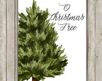 8x10 O Christmas Tree Art, Holiday Print, Christmas Print, Poster Art, Holiday Wall Art, Holiday Decor, Instant Download, Digital Art Print