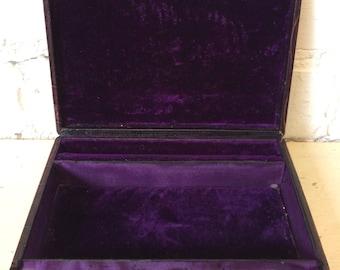Rare 1900 English Crocodile Skin Jewellery  Case / Box Purple Velvet Lining.