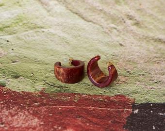 vintage red bakelite hoop earrings