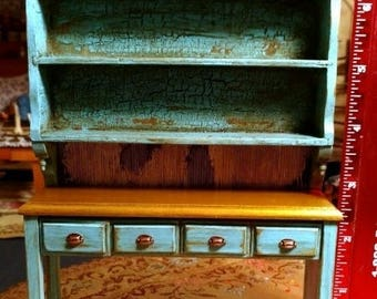 """Large rustic dollhouse china cabinet 1"""" scale"""