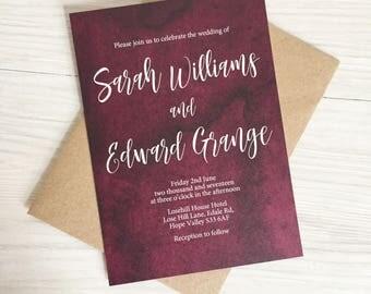Burgundy wedding invitation - Calligraphy wedding invitation - Rustic wedding invitation