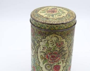 Vintage Coffee Canister, Dutch Coffee Tin, Floral Tin