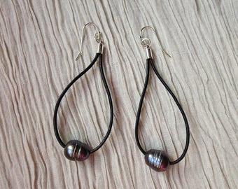 Black Pearl Earrings, Leather Loop Earrings, Pearl Earrings, Dangle Earrings