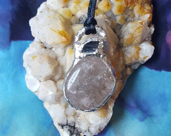 Reiki infused handcrafted OOAK soldered smokey quartz and black tourmaline pendant with necklace cord