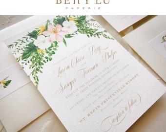 Destination Wedding Invitation Sets   Tropical Botanical Wedding Suite