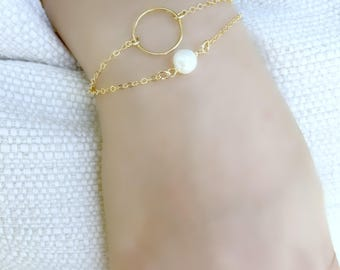 Layered Circle Bracelet Layered Pearl Bracelet karma ring circle eternity 14k gold filled Layering Bracelet Pearl Jewelry June birthstone