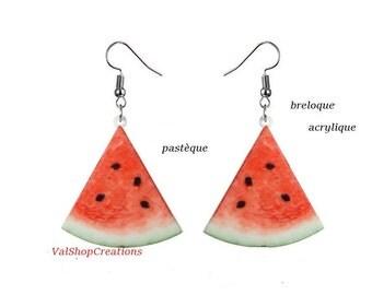 1/4 acrylic watermelon earrings