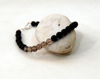 Mens Beads Smoky Quartz and Matte Black Onyx with Sterling Silver Bracelet, Unisex Beads Smoky Quartz and Matte Black Onyx Bracelet