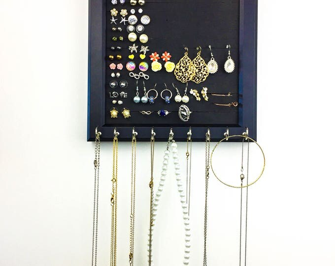 Hanging Jewelry Organizer - 8x10 Black Frame - Foam - Necklace Hooks