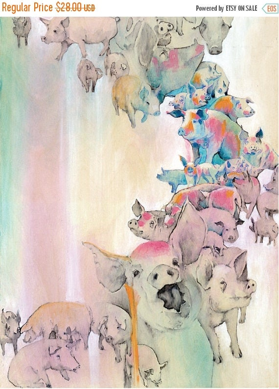 "ON SALE Numbered ""Pigs"" print, Series of 50,  Animal liberation art."