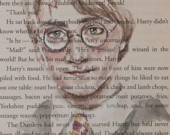 ORIGINAL Harry Potter Watercolor Book Page Painting Harry Potter and the Sorcerer's Stone Illustration Gryffindor Tie