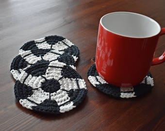 Coasters, Soccer Coasters, Set Of 4, 100% Cotton, Mug Rug,