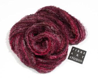 Bebe>> Kid Mohair Boucle Loop Yarn | Light to Dark Red Pale Gray Purple Variegated Yarn | Knitting, Crochet, Weaving Yarn | Octopus
