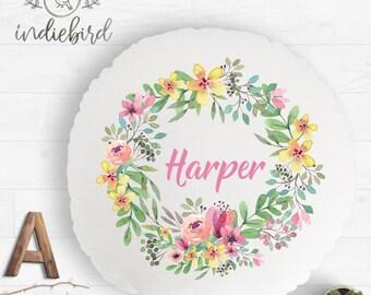 Personalised floral wreath garden cushion, kids round cushion, nursery cushion, girls room decor, keepsake gift.