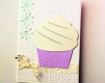 Cupcake Happy Birthday card, Purple, white and silver. Cupcake and daisies. Blank birthday card. Happy birthday for her.