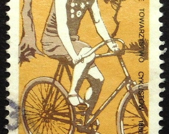 Racing Bicycles, Sports -Handmade Framed Postage Stamp Art 22356AM