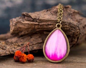 Dahlia petal necklace, orchid necklace, flower necklace, antique brass necklace, tear drop necklace, tear drop pendant