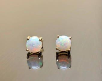 18K Yellow Gold Opal Earrings - Opal Stud Earrings - 18K Gold Opal Earrings - 18K Opal Earrings - Gold Stud Earrings - Opal Gold Earrings