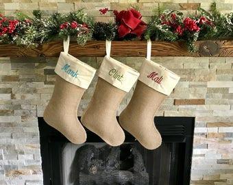Set of 3 Burlap Christmas Stockings