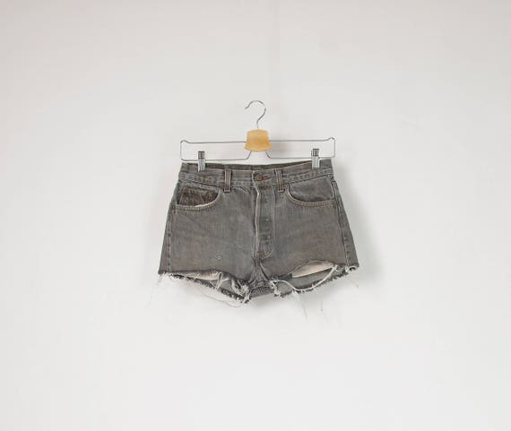 SALE! Vintage Levi's 501 high waisted cut off workwear denim shorts made in USA / w29