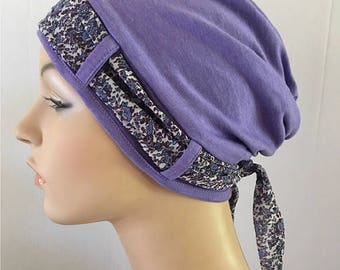 Purple Turban hat with loose floral scarf. Hat for womens hair loss. Cancer Hat.  Alopecia Hat. Chemo cap. Chemo Headwear. Headscarf. Hats