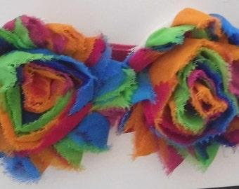 Shabby Tie Dye Flowers Headband