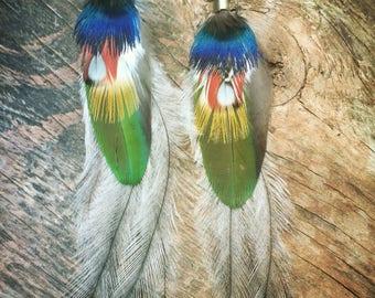 Feather Earrings, TRIBAL earrings, Exotic FEATHERS, Festival feather earrings, bohemian jewelry, natural feathers, long Feather Earrings