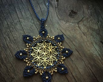 Flower of life necklace,macrame jewelry, Sacred geometry jewelry, Yoga necklace, Meditation Necklace, mandala necklace, bohemian pendent