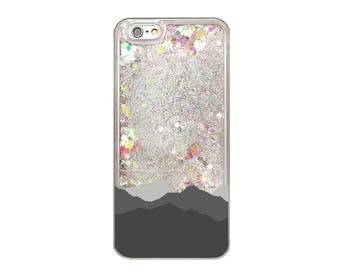 Rainbow Glitter iPhone Case, Mountains Phone Case, iPhone 8, iPhone 7 Plus, iPhone 7, iPhone 6s, iPhone 6 Plus, Nature Gift, Liquid Glitter
