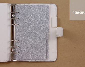 6 personal dividers set, Filofax planner dividers, silver glitter dividers, dividers for 6 ring planner