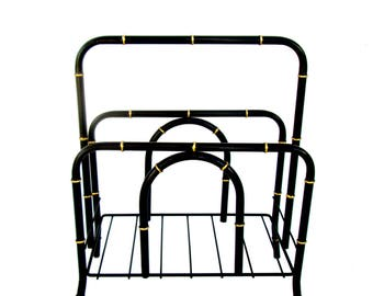 Vintage Hollywood Regency Black & Gold Gilt Metal Faux Bamboo Magazine Rack