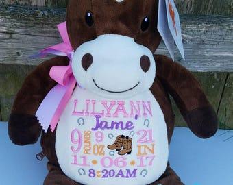 Personalized Baby Gift, Stuffed Animal,Horse Stuffed Animal, Monogrammed Stuffed Animal,Birth Announcement Stuffed Animal