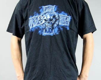 Extra Large Black Metal Skull T Shirt, Vintage Concert Memorabilia Collectible, 90s Vintage Grunge Rocker Rock TShirt, Retro Attribute Tee,