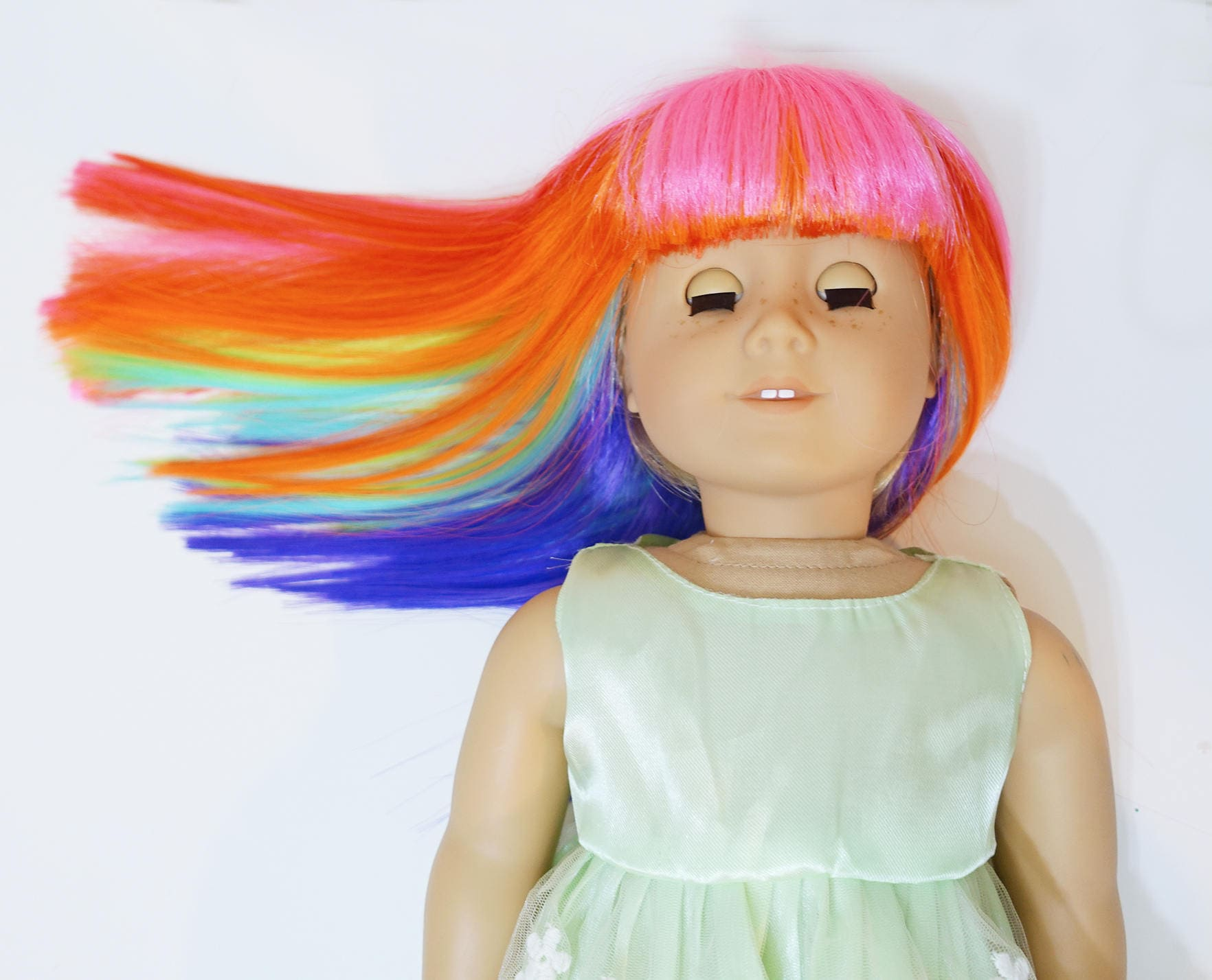 Rainbow Straight Wig For American Girl Dolls