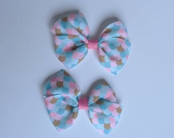 Mermaid pigtail hair bows